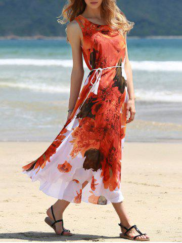 Discount Round Collar Sleeveless Floral Chiffon Sun Dress
