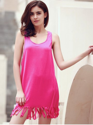 Discount U-Neck Sleeveless Fringed Cover-Up - L ROSE Mobile