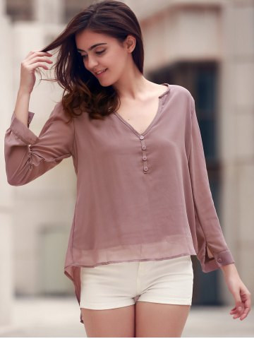 Store Stylish V-Neck Coffee High Low Long Sleeve Blouse For Women