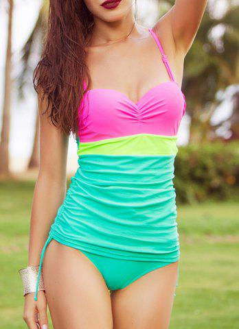 Discount Sweet Spaghetti Strap Color Block Women's One Piece Swimsuit