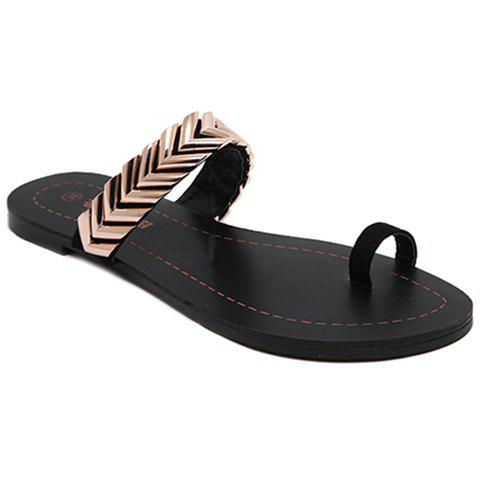 Discount Stylish Toe Ring and Metal Design Slippers For Women