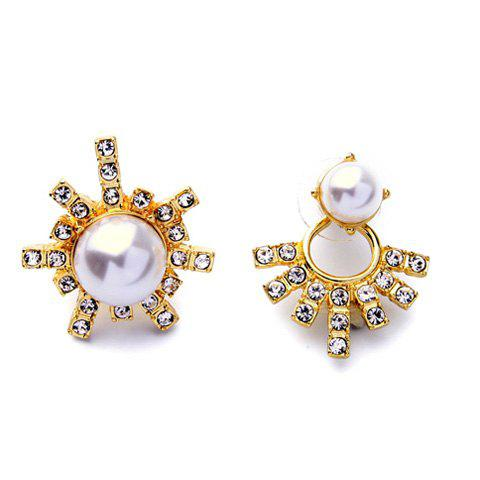 Unique Pair of Rhinestone Faux Pearl Alloy Earrings