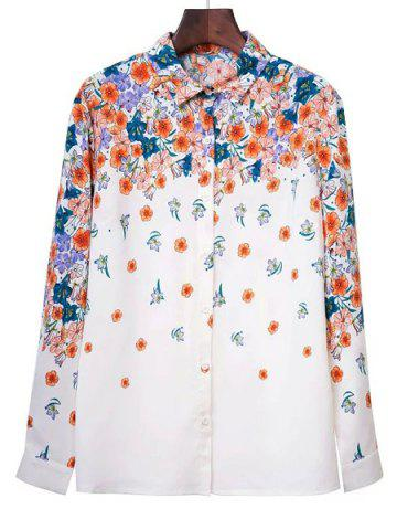 Latest Elegant Shirt Collar Long Sleeve Floral Print Buttoned Women's Shirt WHITE L