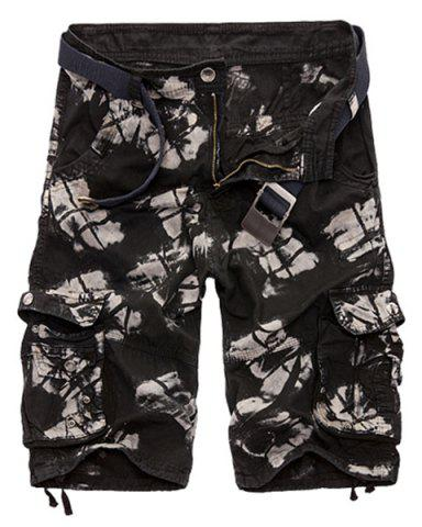 Fancy Military Style Zipper Fly Multi-Pocket Loose Fit Straight Leg Camo Shorts For Men - 38 BLACK Mobile