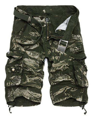 Outfits Military Style Zipper Fly Multi Pocket Camouflage Shorts - 36 GREEN Mobile