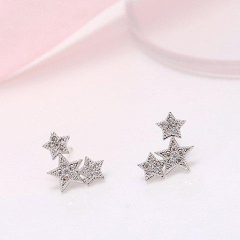 Affordable Pair of Alloy Rhinestone Star Stud Earrings