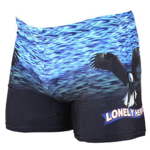 Fancy Eagle Printing Elastic Waist Men's Boxers Swimming Trunks