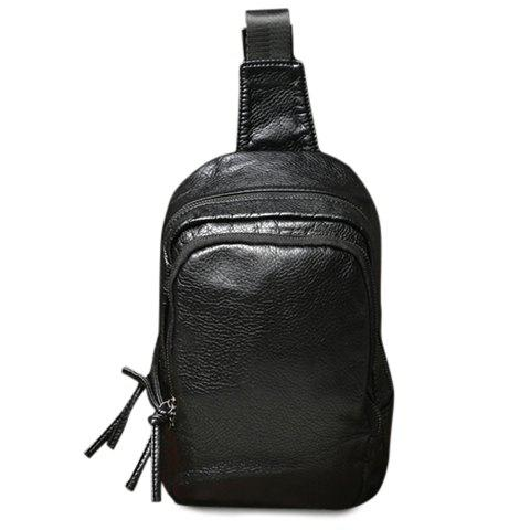 Buy Concise PU Leather and Black Colour Design Messenger Bag For Men