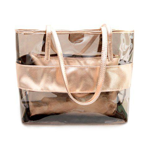Affordable Stylish Splicing and Transparent Plastic Design Shoulder Bag For Women
