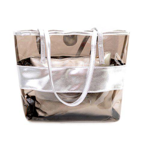 Stylish Splicing and Transparent Plastic Design Shoulder Bag For Women - Silver - 39