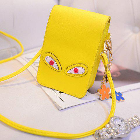 Fancy Cute PU Leather and Solid Colour Design Crossbody Bag For Women - YELLOW  Mobile