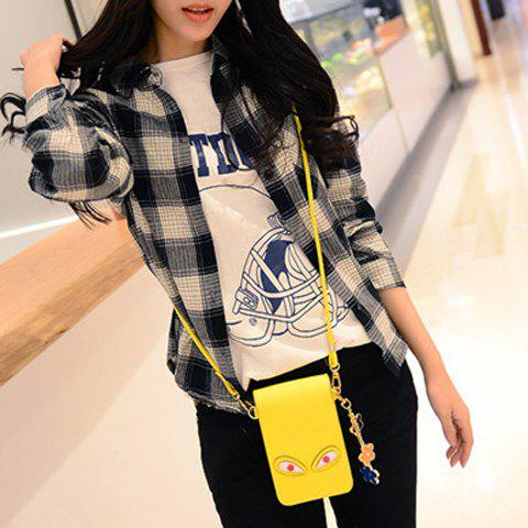 Outfits Cute PU Leather and Solid Colour Design Crossbody Bag For Women - YELLOW  Mobile