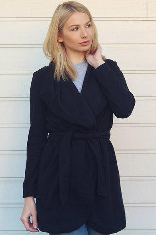 Outfit Chic Turn-Down Collar Long Sleeve Pure Color Irregular Hem Coat For Women - M BLACK Mobile