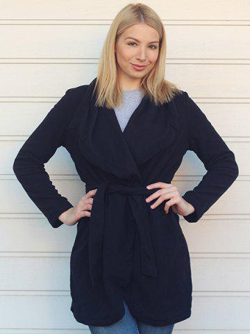 Outfit Chic Turn-Down Collar Long Sleeve Pure Color Irregular Hem Coat For Women - S BLACK Mobile