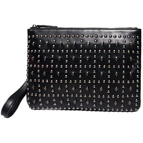 Store Trendy Black Colour and Rivets Design Clutch Bag For Men