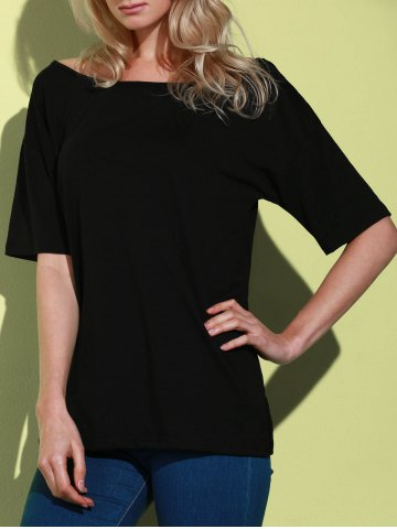 Online Casual 1/2 Sleeve Loose-Fitting Solid Color T-Shirt For Women BLACK M