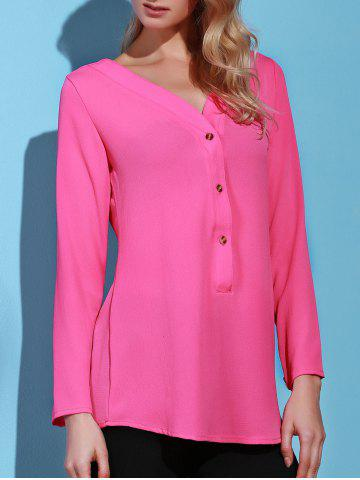 Shops Casual Solid Color V-Neck Long Sleeve Loose Blouse For Women