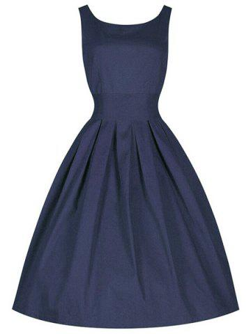 Outfits Vintage Cocktail Skater Dress PURPLISH BLUE XL