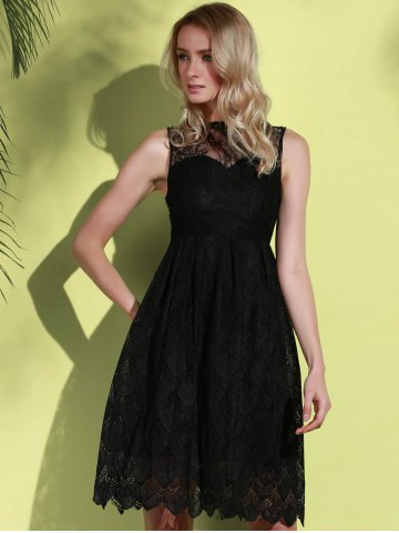 Sale Midi Illusion Yoke Lace Party Short Prom Dress