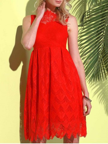 Hot Midi Illusion Yoke Lace Party Short Prom Dress - M RED Mobile