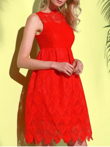 Online Midi Illusion Yoke Lace Party Short Prom Dress - M RED Mobile