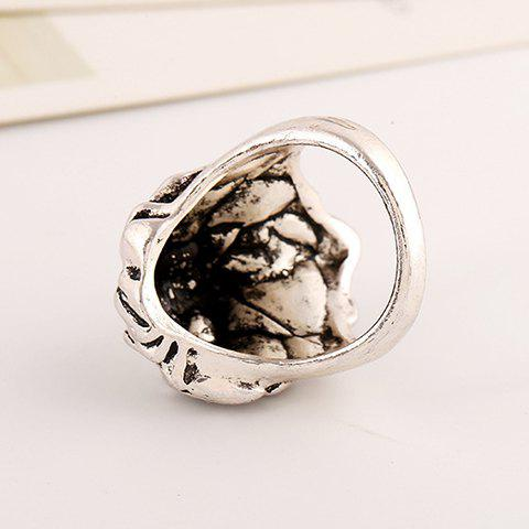 Fashion Punk Style Lion Head Shape Ring For Men - ONE-SIZE SILVER Mobile