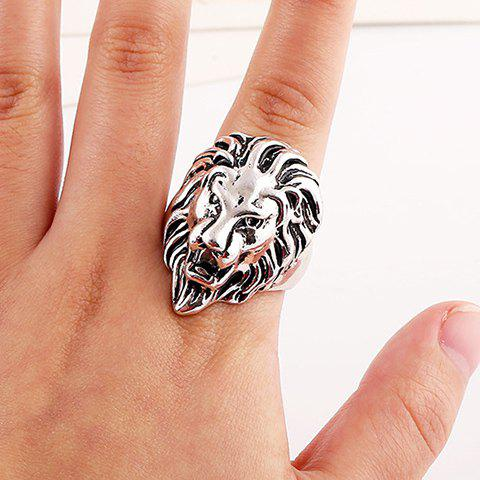 Shop Punk Style Lion Head Shape Ring For Men - ONE-SIZE SILVER Mobile