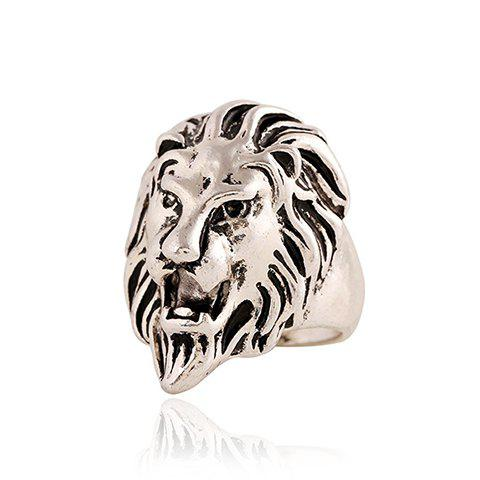 Trendy Punk Style Lion Head Shape Ring For Men SILVER ONE-SIZE