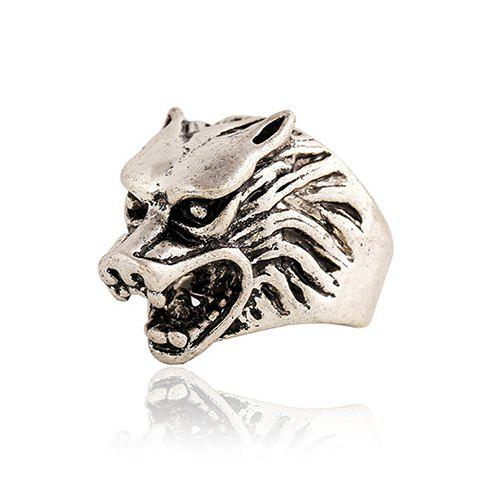 Unique Punk Style Wolf Head Shape Ring For Men SILVER GRAY ONE-SIZE