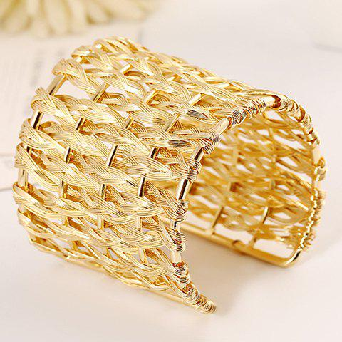 New Punk Woved Hollow Out Cuff Bracelet GOLDEN