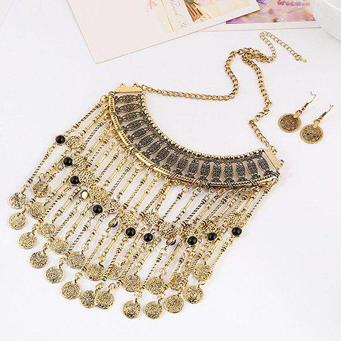 Sale A Suit of Retro Multilayered Coin Necklace and Earrings