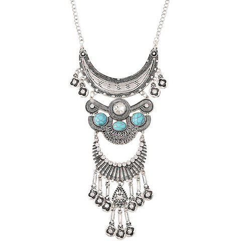 Hot Vintage Rhinestone Faux Turquoise Moon Necklace SILVER/BLUE