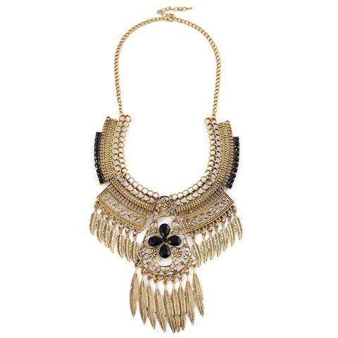 Fancy Vintage Leaf Floral Hollow Out Necklace GOLDEN