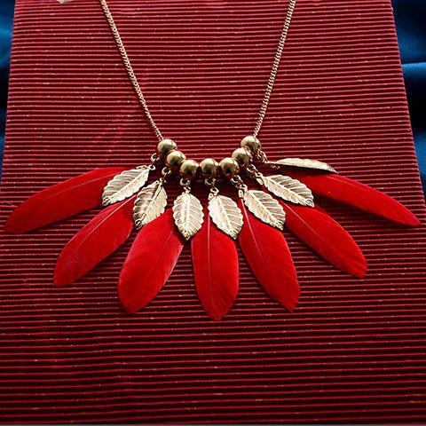 Hot Feather Alloy Pendant Necklace