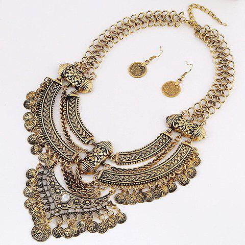 Cheap A Suit of Vintage Coins Moon Necklace and Earrings - GOLDEN  Mobile