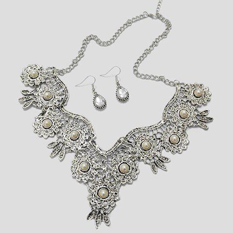 A Suit of Retro Water Drop Rhinestone Necklace and Earrings - WHITE