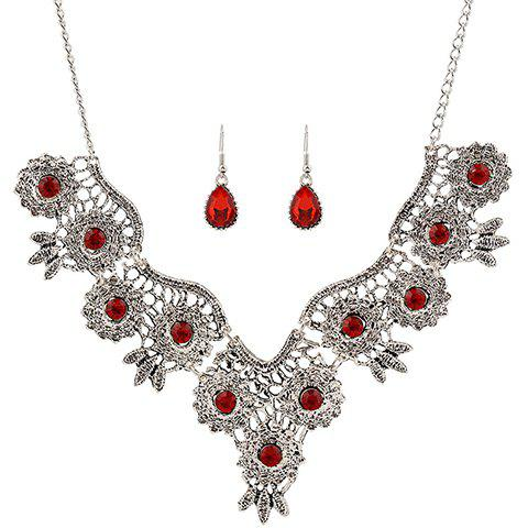 Fancy A Suit of Retro Rhinestone Water Drop Necklace and Earrings RED