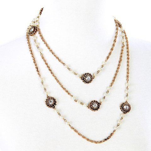 Trendy Chic Rhinestone Long Style Necklace For Women GOLDEN