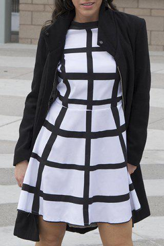 Online Stylish Stand-Up Collar Long Sleeve Flounced Solid Color Women's Coat BLACK M