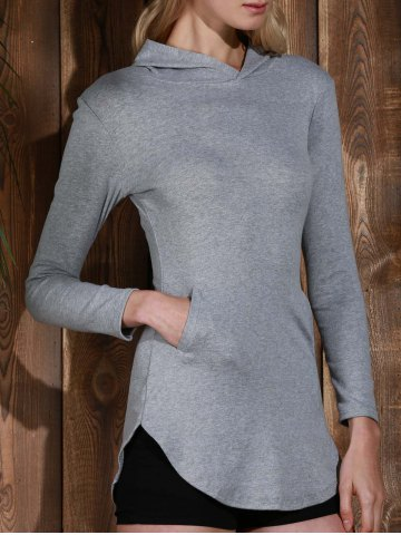 Chic Stylish Hooded Long Sleeve Solid Color Pocket Design T-Shirt For Women GRAY S