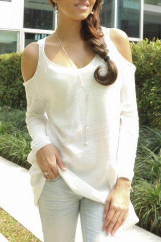 Unique Trendy Sweetheart Neck Cut Out Solid Color Long Sleeve Sweater For Women WHITE L