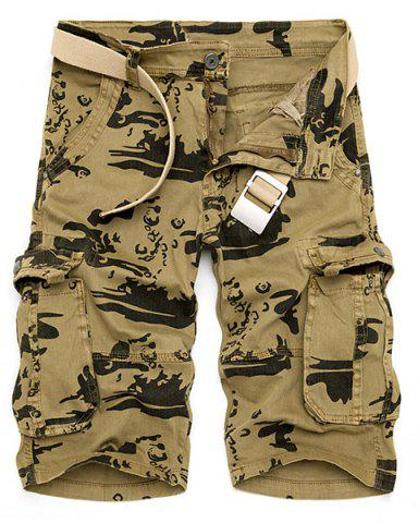 Latest Multi-Pocket Loose Fit Straight Leg Zipper Fly Camo Cargo Shorts For Men