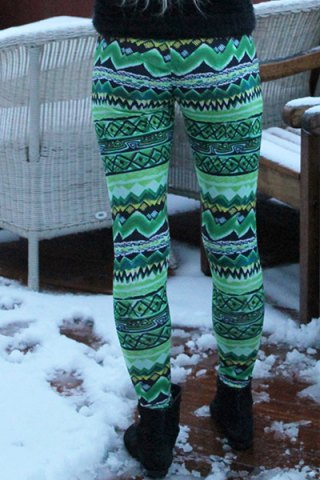 Unique Stylish Elastic Waist Skinny Printed Colored Women's Leggings - ONE SIZE(FIT SIZE XS TO M) GREEN Mobile
