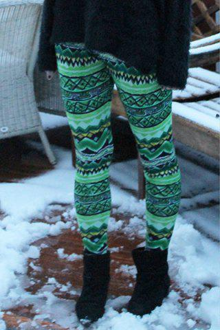 Discount Stylish Elastic Waist Skinny Printed Colored Women's Leggings GREEN ONE SIZE(FIT SIZE XS TO M)