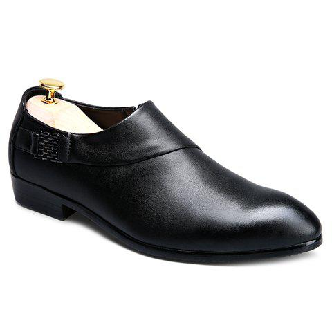 Hot Trendy Metal and Solid Colour Design Formal Shoes For Men - 43 BLACK Mobile