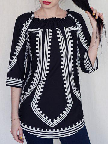 Shops Off-The-Shoulder Long Sleeve Printed Casual Dress