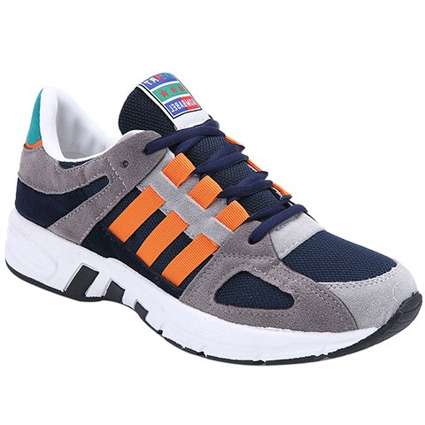 Unique Fashion Color Block and Lace-Up Design Sneakers For Men