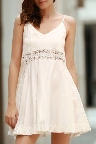 Spaghetti Straps SLeeveless Zippered Hollow Out Dress