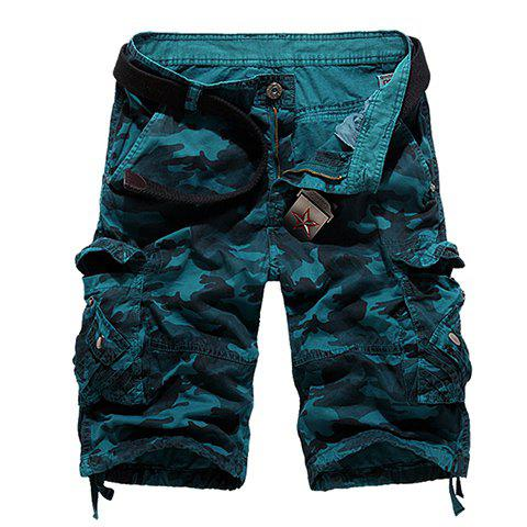 Cheap Loose Fit Straight Leg Multi-Pocket Camo Print Zipper Fly Cargo Shorts For Men