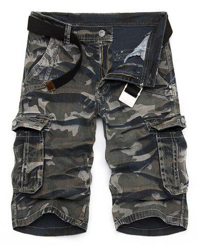 New Camo Print Multi-Pocket Loose Fit Straight Leg Zipper Fly Cargo Shorts For Men CAMOUFLAGE 30